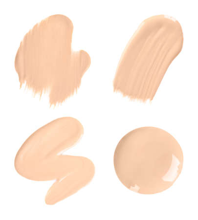 Set with samples of liquid foundation on white background, top view Stock fotó