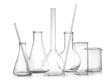 Clean empty laboratory glassware on white background