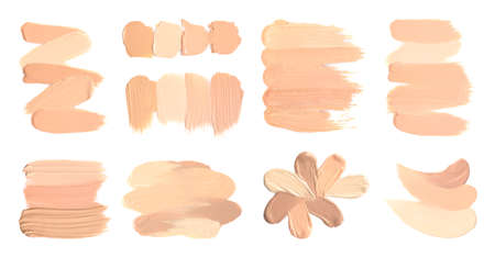 Set of different foundation shades on white background, top view Stock fotó