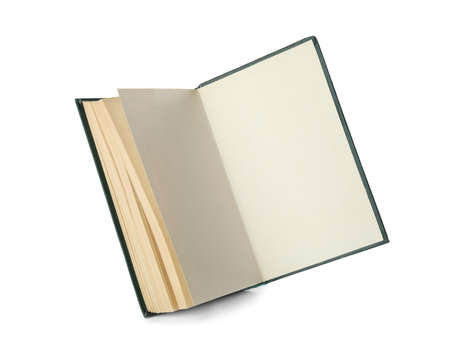 Open hardcover old book on white background Stok Fotoğraf
