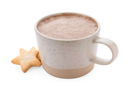 Delicious cocoa drink in cup and cookies on white background