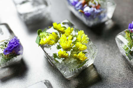 Ice cubes with flowers on grey stone table, closeup Banque d'images - 131841474