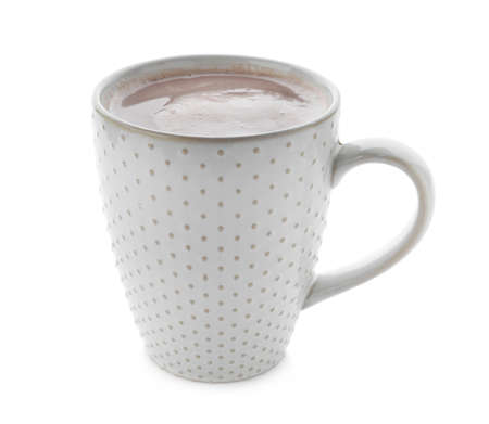 Delicious cocoa in cup on white background