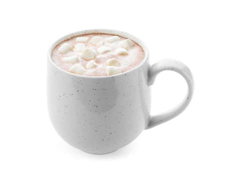 Delicious cocoa drink with marshmallows in cup on white background Zdjęcie Seryjne
