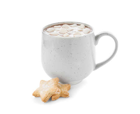 Delicious cocoa drink with marshmallows in cup and cookies on white background Zdjęcie Seryjne