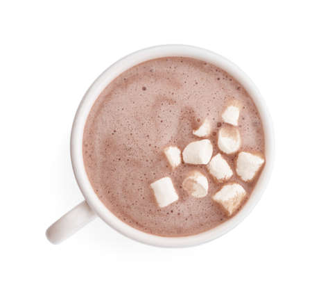 Delicious cocoa drink with marshmallows in cup on white background, top view Zdjęcie Seryjne