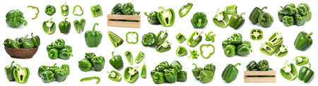Set of fresh ripe green bell peppers on white background