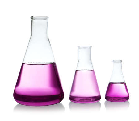 Conical flasks with purple liquid on white background