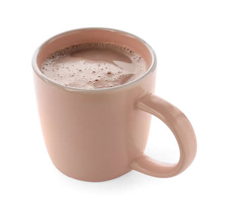 Delicious cocoa in beige cup on white background