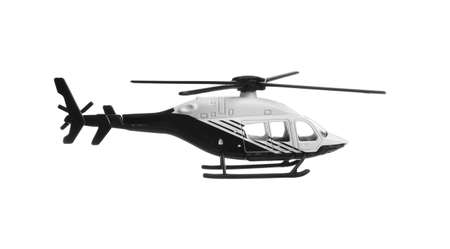 Modern toy military helicopter on white background