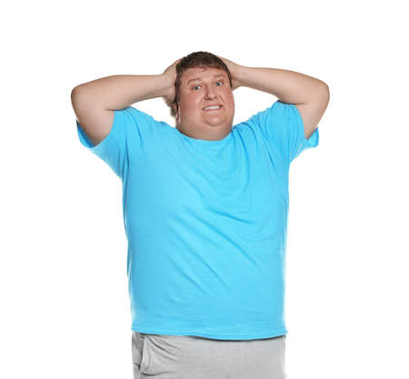 Emotional overweight man posing on white background Archivio Fotografico - 132239907