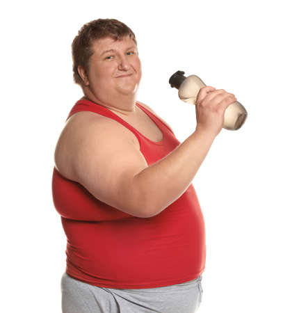 Portrait of overweight man with bottle of water on white background Archivio Fotografico - 132239770