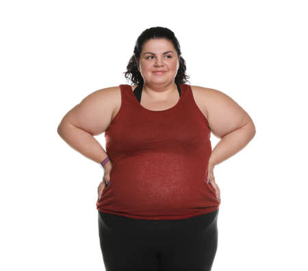 Happy overweight woman posing on white background