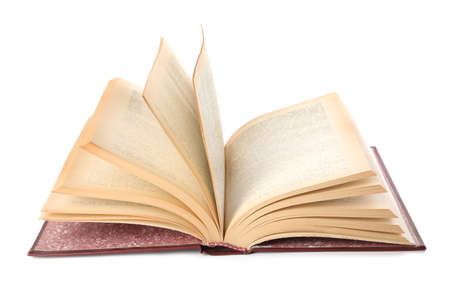 Open hardcover modern book on white background Stock Photo