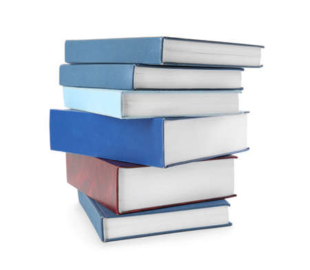 Stack of hardcover books on white background 版權商用圖片