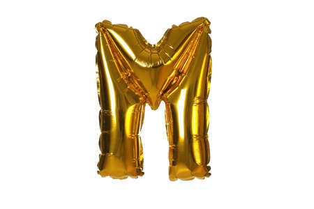 Golden letter M balloon on white background