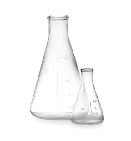 Empty conical flasks on white background. Laboratory glassware