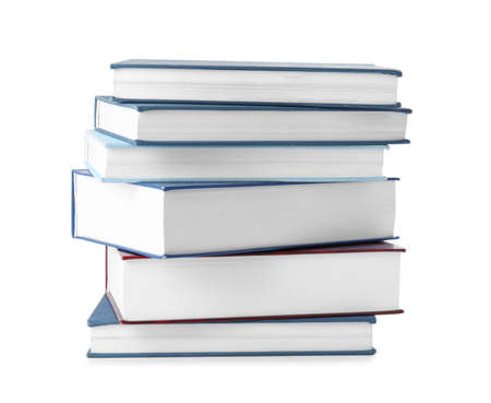 Stack of hardcover books on white background Stock Photo
