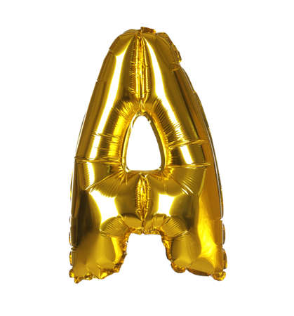 Golden letter A balloon on white background