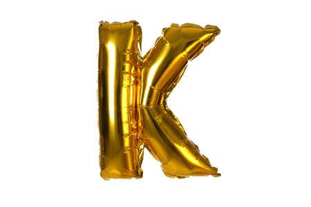 Golden letter K balloon on white background
