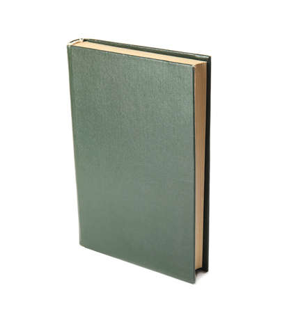 Book with blank green cover on white background