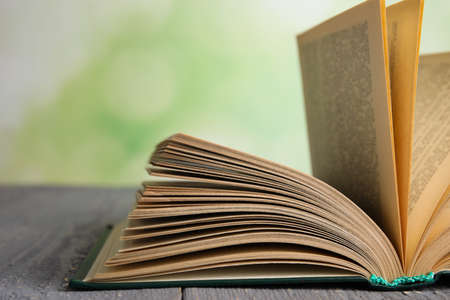 Open book on grey wooden table against blurred green background, closeup