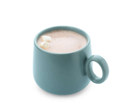 Delicious cocoa drink with marshmallows in blue cup on white background