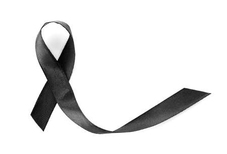 Black ribbon on white background, top view. Funeral symbol Stock Photo