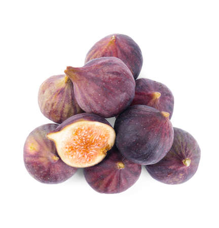 Pile of tasty fresh figs on white background, top view
