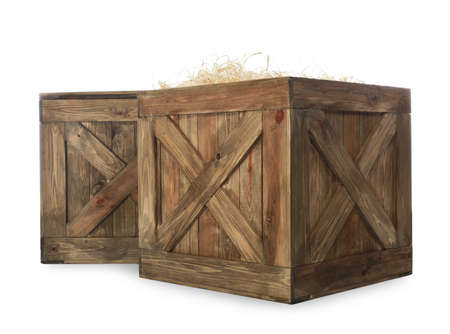 Old open wooden crates isolated on white