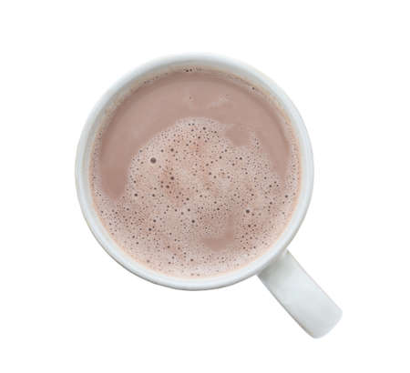 Delicious cocoa in cup on white background, top view