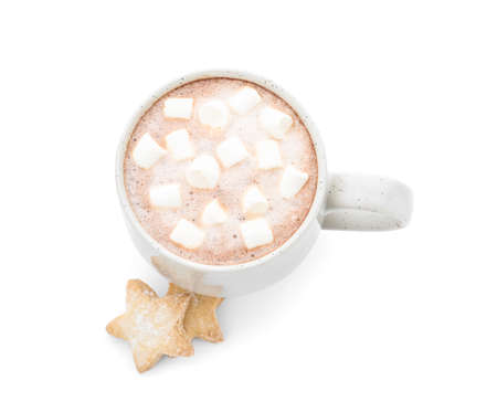 Delicious cocoa drink with marshmallows in cup and cookies on white background, view from above