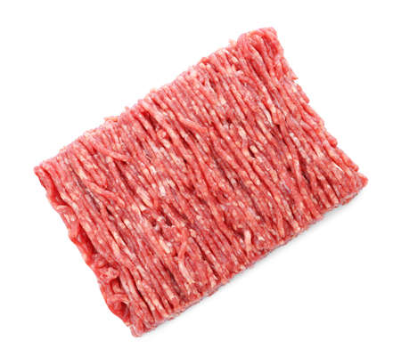 Fresh raw minced meat on white background, top view