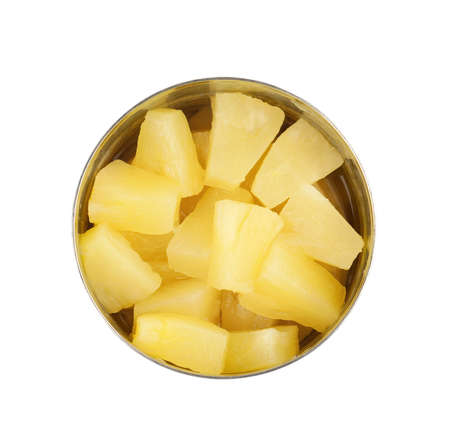 Tin with delicious sweet canned pineapple on white background, top view Stok Fotoğraf