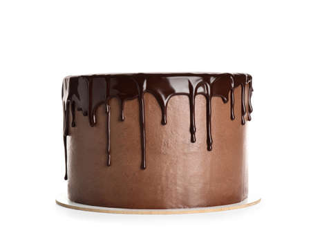 Freshly made delicious chocolate cake on white background