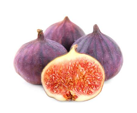 Tasty fresh fig fruits on white background