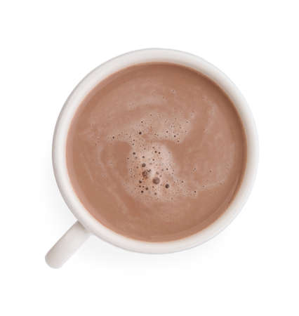 Delicious cocoa drink in cup on white background, top view