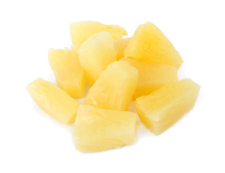 Pieces of delicious sweet canned pineapple on white background, closeup 写真素材