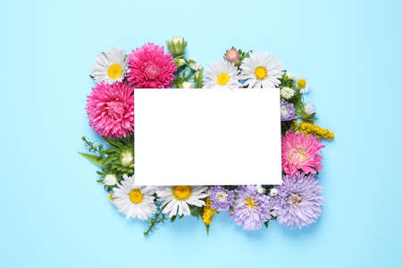 Flat lay composition with beautiful aster flowers and blank card on light blue background. Space for text