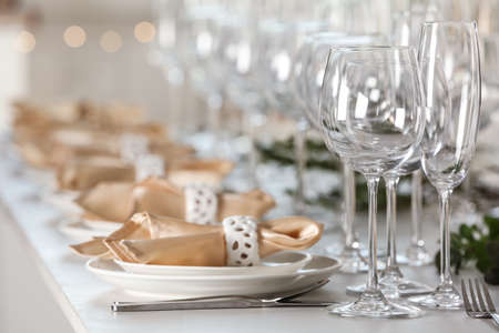 Table setting with empty glasses, plates and cutlery indoors Stok Fotoğraf
