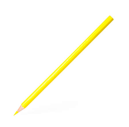 Yellow wooden pencil on white background. School stationery