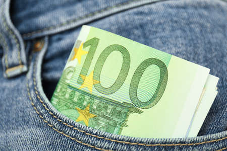 Euro banknotes in pocket of jeans, closeup Stok Fotoğraf