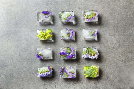 Ice cubes with flowers on grey stone background, flat lay