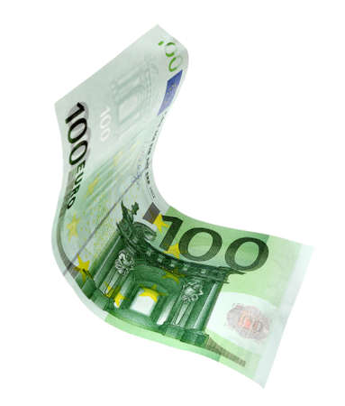 Flying one hundred Euro banknote isolated on white