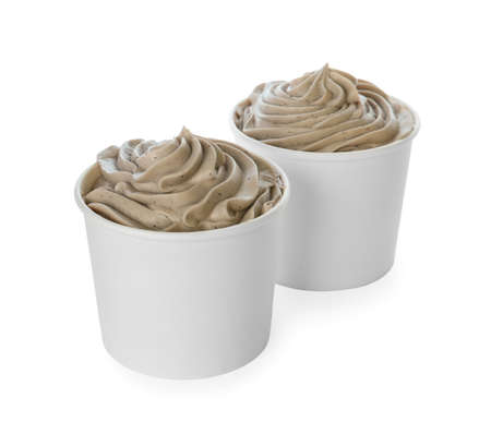Cups with tasty frozen yogurt on white background 스톡 콘텐츠