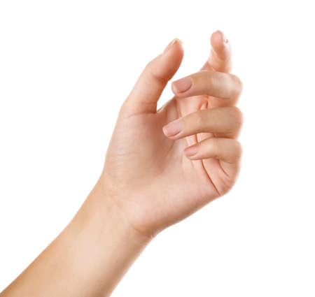 Woman holding something on white background, closeup of hand