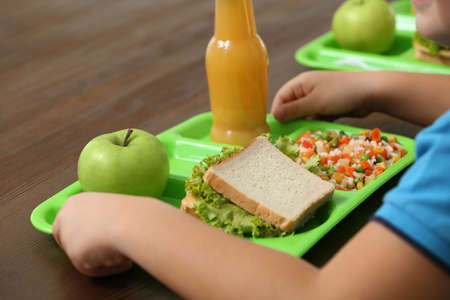 Child with healthy food for school lunch at desk, closeup 写真素材