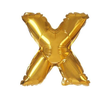 Golden letter X balloon on white background