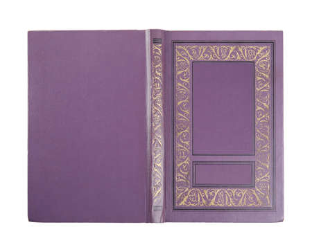 Hardcover book on white background, top view