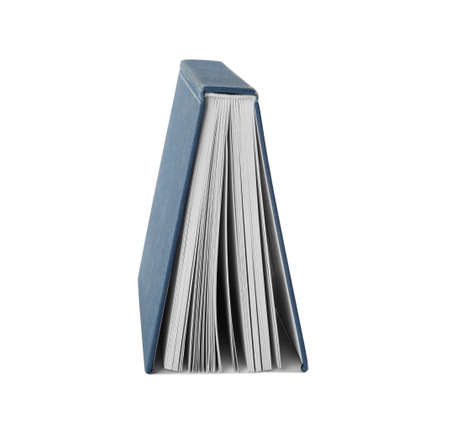 Open hardcover book with blank pages on white background